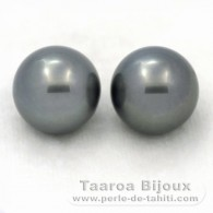 Lot de 2 Perles de Tahiti Rondes C 12.5 mm