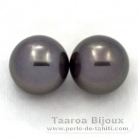 Lot de 2 Perles de Tahiti Rondes C 12.2 mm