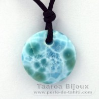 Collier en Coton cir� et 1 Larimar - 21 x 6.4 mm - 4.4 gr