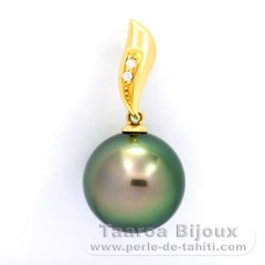 Pendentif en Or 18K + 2 diamants 0.018 carats VS1 et 1 Perle de Tahiti Ronde B 12.6 mm