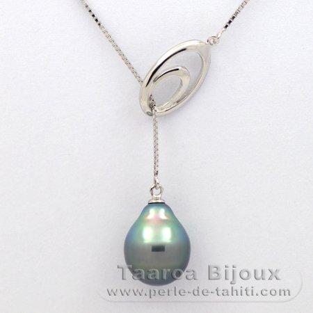 collier en argent 925 et 1 perle de tahiti semi baroque a 10 3 mm taaroa bijoux. Black Bedroom Furniture Sets. Home Design Ideas