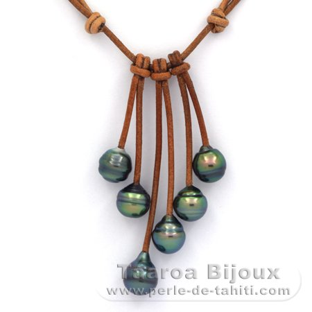 Collier En Cuir Et 6 Perles De Tahiti Cerclees C De 9 A 9 2 Mm
