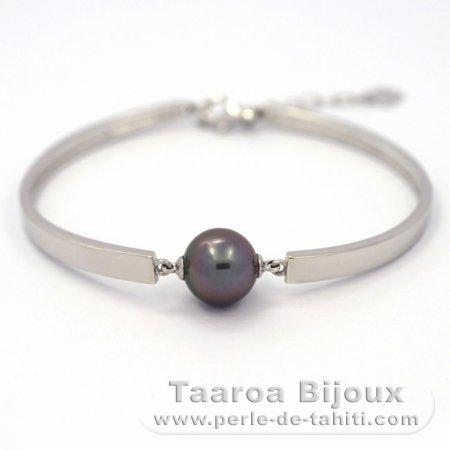 Bracelet en Argent .925 et 1 Perle de Tahiti Ronde B 11 mm