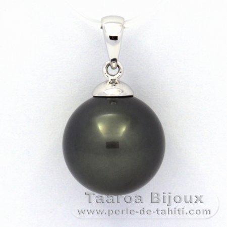 9e944914a24c5 Pendentif en Or blanc 18K et 1 Perle de Tahiti Ronde B 12.4 mm ...