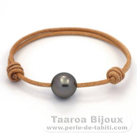 bracelet en cuir et 1 perle de tahiti ronde c 12 3 mm taaroa bijoux. Black Bedroom Furniture Sets. Home Design Ideas