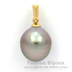 Pendentif en Or 18K et 1 Perle de Tahiti Semi-Baroque B 11.1 mm