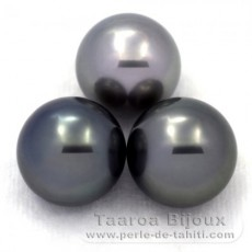 Lot of 3 Tahitian Pearls Round C from 13.5 to 13.7 mm