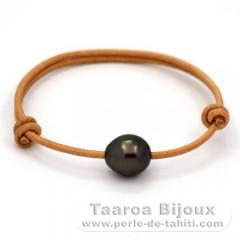 Bracelet en Cuir et 1 Perle de Tahiti Semi-Baroque C 11.4 mm