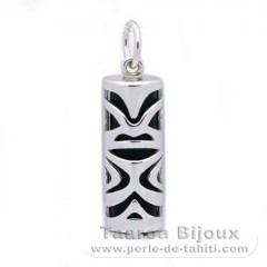 Silver and Black Agate Tiki - 21 mm - Luck