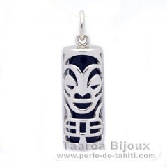 Silver and Black Agate Tiki - 21 mm - Health