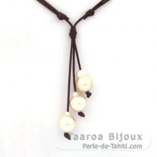 Leather Necklace and 3 Australian Pearls Baroque C from 13.6 to 14.9 mm