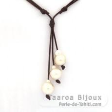 Collar de Cuero y 3 Perlas de Australia Barrocas C de 13.6 a 14.9 mm