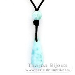 Collier en Nylon et 3 Larimar - 26 x 9.5 x 10.5 mm - 3.7, 0.8 & 1.2 gr
