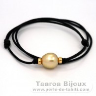 Waxed Cotton Necklace and 1 Australian Pearl Semi-Baroque C 12.5 mm