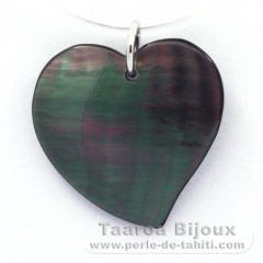 Tahitian Mother-of-Pearl Pendant and Rhodiated Sterling Silver