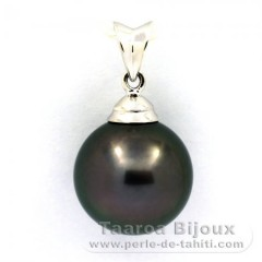 Pendentif en Argent .925 et 1 Perle de Tahiti Ronde C 12.4 mm