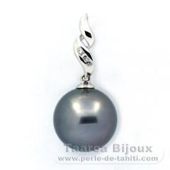 Pendentif en Argent .925 et 1 Perle de Tahiti Ronde C 12.8 mm