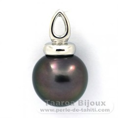 Pendentif en Argent .925 et 1 Perle de Tahiti Semi-Ronde C 13.5 mm