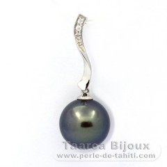 Rhodiated Sterling Silver Pendant and 1 Tahitian Pearl Round C 11.8 mm