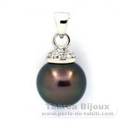 Colgante de Plata .925 y 1 Perla de Tahiti Redonda C 11.9 mm