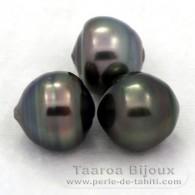 Lote de 3 Perlas de Tahiti Anilladas C de 12 a 12.3 mm