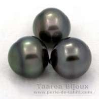 Lot of 3 Tahitian Pearls Ringed C from 12.6 to 12.9 mm