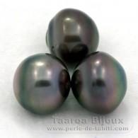 Lot de 3 Perles de Tahiti Cerclées C de 12.6 à 12.9 mm