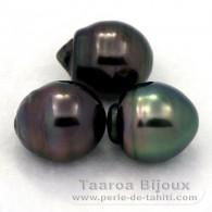 Lote de 3 Perlas de Tahiti Anilladas C de 12.6 a 12.7 mm