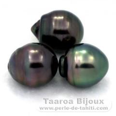 Lotto di 3 Perle di Tahiti Cerchiate C di 12.6 a 12.7 mm