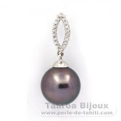 Ciondolo in Argento e 1 Perla di Tahiti Rotonda C 11.8 mm