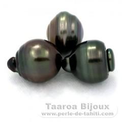 Lotto di 3 Perle di Tahiti Cerchiate D di 13.6 a 13.9 mm
