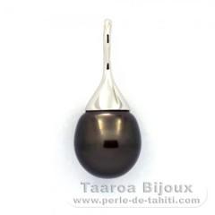 Pendentif en Argent et 1 Perle de Tahiti Semi-Baroque B 12.1 mm