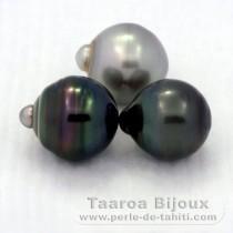 Lot de 3 Perles de Tahiti Cerclées C de 12.4 à 12.8 mm