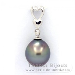 Rhodiated Sterling Silver Pendant and 1 Tahitian Pearl Semi-Baroque C 10.5 mm