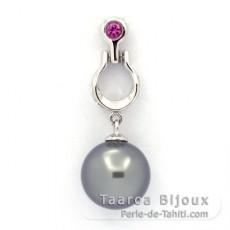 Pendentif en Argent et 1 Perle de Tahiti Ronde C 10.2 mm