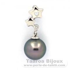 Pendentif en Argent .925 et 1 Perle de Tahiti Ronde C 9.4 mm