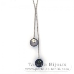 Rhodiated Sterling Silver Necklace and 2 Tahitian Pearls Round B/C 12.6 and 12.8 mm