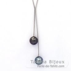 Sterling Silber Halsband und 2 Runde TahitiPerlen B/C 13.1 und 13.3 mm