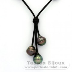 Collar de Cuero y 3 Perlas de Tahiti Anilladas B  10.1 a 10.3 mm