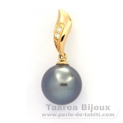 Pendentif en Or 18K + 2 diamants 0.018 carats VS1 et 1 Perle de Tahiti Ronde A 10.2 mm