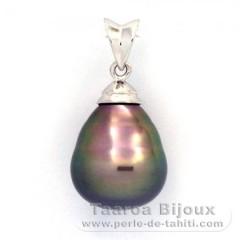 Colgante de Plata .925 y 1 Perla de Tahiti Anillada B 11.6 mm