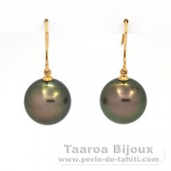 Aretes de Oro 18Kl y 2 Perlas de Tahiti Redondas B/C 13.2 y 13.3 mm