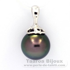 Rhodiated Sterling Silver Pendant and 1 Tahitian Pearl Near-Round C 12.2 mm