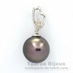 Ciondolo in Argento .925 e 1 Perla di Tahiti Semi-Rotonda C 12.1 mm