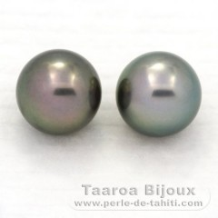 Lot de 2 Perles de Tahiti Rondes C 11.3 mm