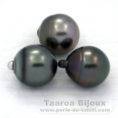 Lot de 3 Perles de Tahiti Semi-Baroques C de 12.7 à 12.9 mm
