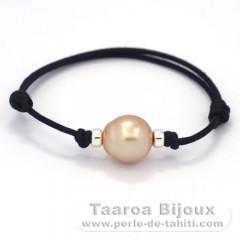 Waxed Cotton Bracelet and 1 Australian Pearl Semi-Baroque C 12.5 mm