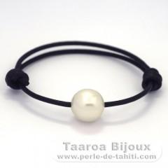 Leder Armband und 1 Halbbarock Perle von Australien C 12.6 mm