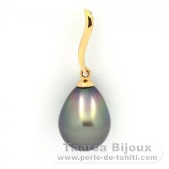 18K solid Gold Pendant and 1 Tahitian Pearl Semi-Baroque B 9.9 mm