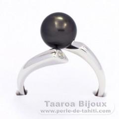 Anello in Argento e 1 Perla di Tahiti Rotonda B 8.3 mm